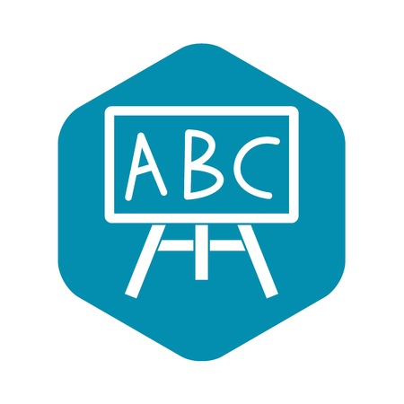 Chalkboard with the leters ABC icon, simple style Stock Illustratie