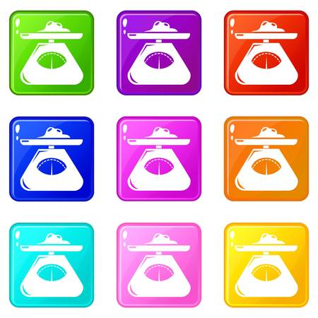 Kitchen scales icons set 9 color collection isolated on white for any design