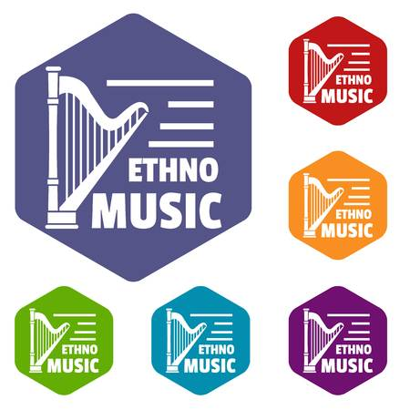Harp icons vector hexahedron Banque d'images - 119024334