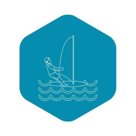 Windsurfer icon. Outline illustration of windsurfer vector icon for web