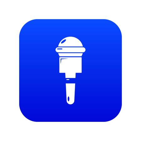 Microphone icon blue vector isolated on white background