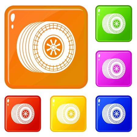 Wheel sport car icons set collection vector 6 color isolated on white background