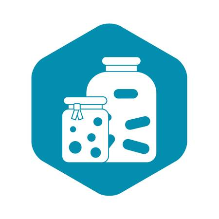 Jars with pickled vegetables and jam icon
