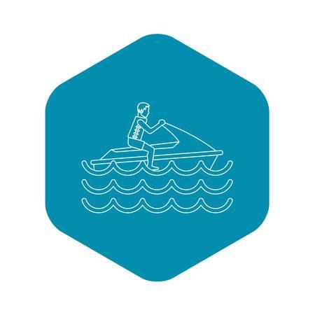 Man on jet ski icon. Outline illustration of man on jet ski vector icon for web Illustration