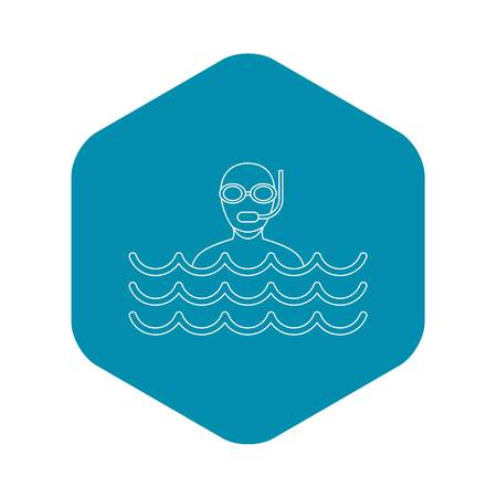 Scuba diving icon. Outline illustration of scuba diving vector icon for web