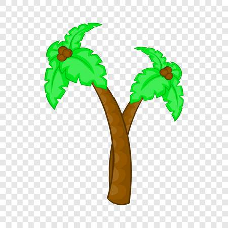 Palm tree with coconuts icon, cartoon style