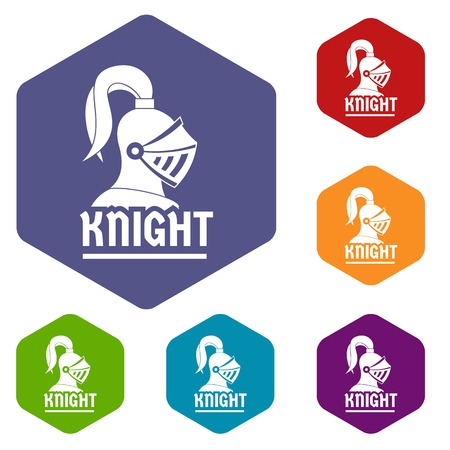 Knight helmet icons vector hexahedron Illustration