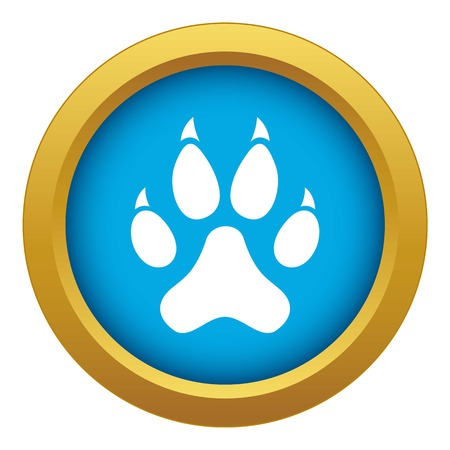 Cat paw icon blue vector isolated
