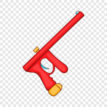 Red paintball gun icon in cartoon style on a background for any web design