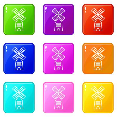 Farm windmill icons set 9 color collection isolated on white for any design