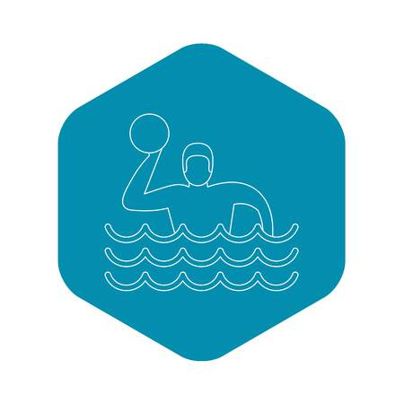Water polo player icon. Outline illustration of water polo player vector icon for web