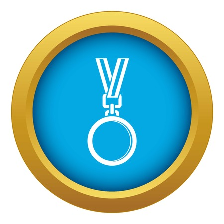 Cat medal icon blue vector isolated Illustration