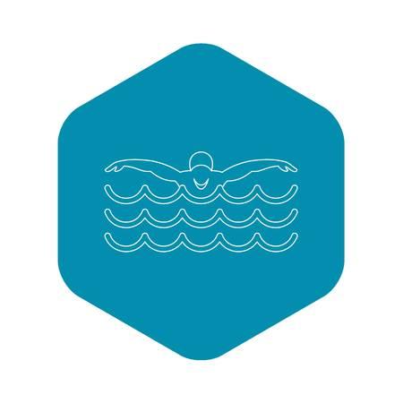 Zwemmer pictogram. Overzichtsillustratie van zwemmer vectorpictogram voor web