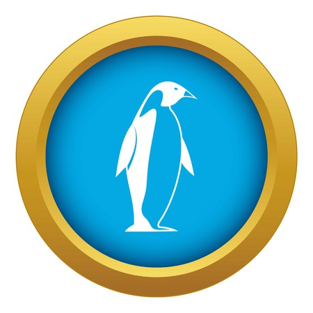 King penguin icon blue vector isolated on white background for any design