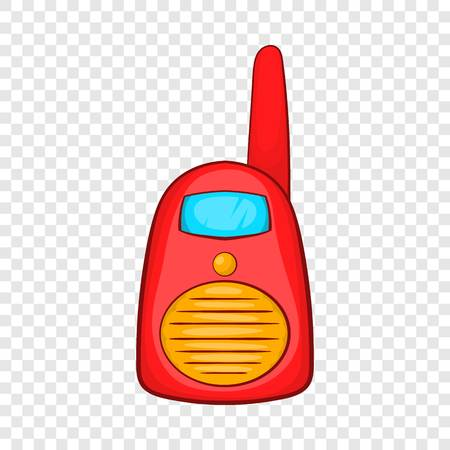 Red portable handheld radio icon in cartoon style on a background for any web design