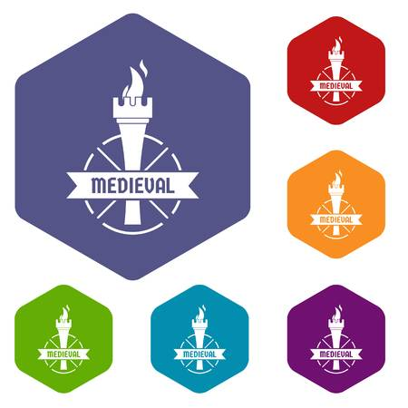 Torch icons vector hexahedron
