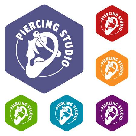 Piercing icons vector hexahedron