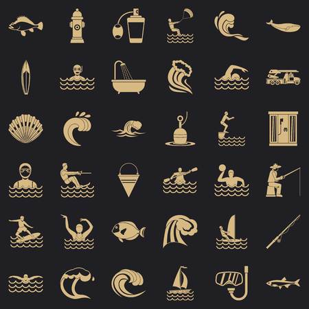 Water wave icons set, simple style
