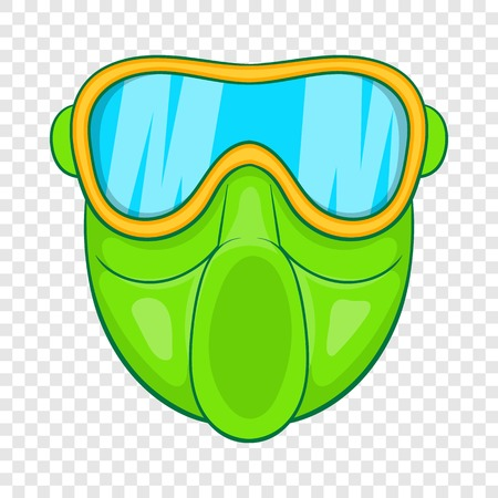 Green paintball mask icon in cartoon style on a background for any web design