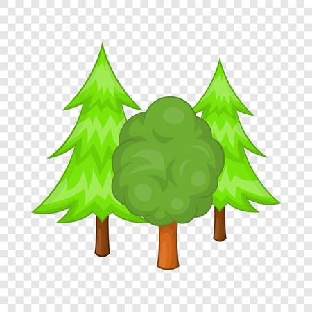 Forest trees icon in cartoon style on a background for any web design