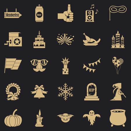 Relaxed pastime icons set. Simple set of 25 relaxed pastime vector icons for web for any design Çizim
