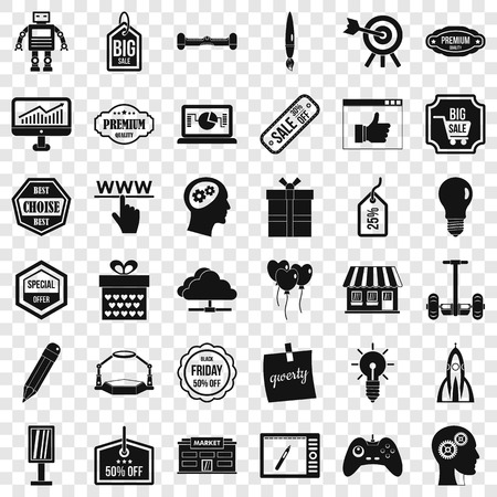 Creative market icons set, simple style