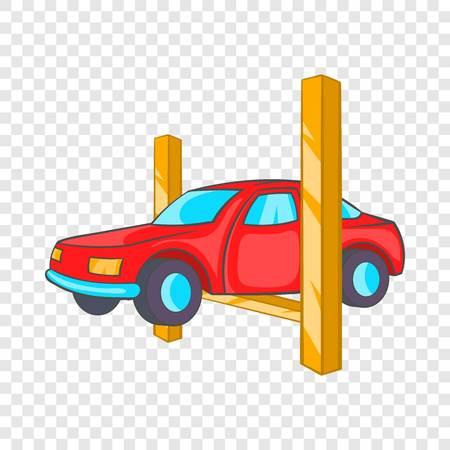 Icône de levage de voiture en style cartoon sur fond pour toute conception de sites Web