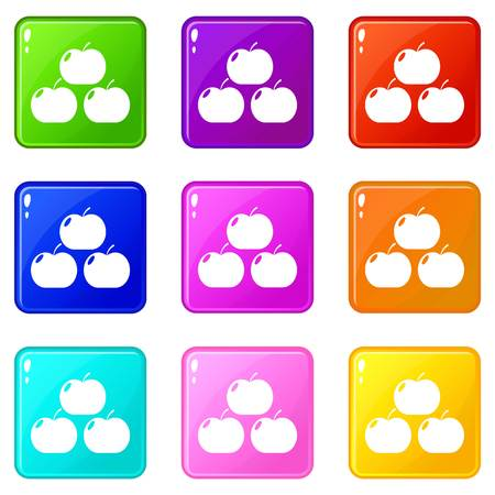 Apples icons set 9 color collection
