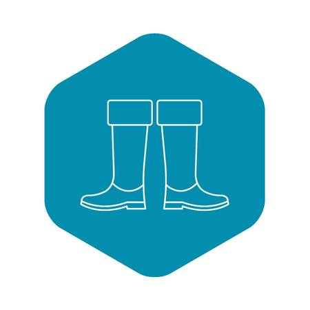 High rubber boots icon. Outline illustration of high rubber boots vector icon for web