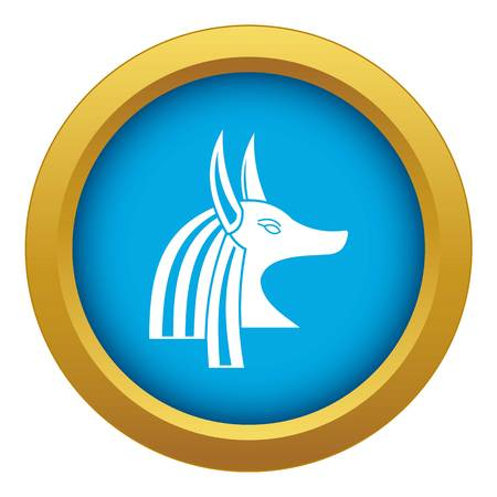 Ancient egyptian god Anubis icon blue vector isolated