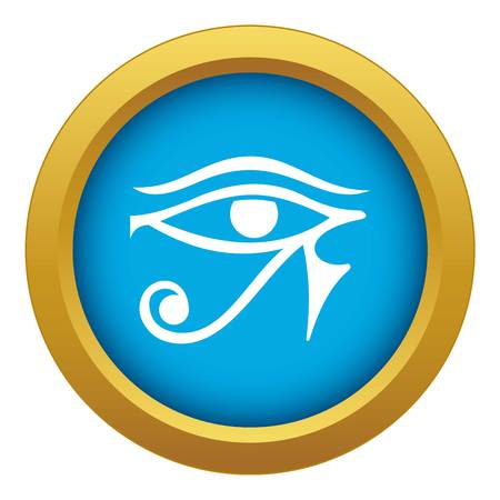 Eye of Horus Egypt Deity icon blue vector isolated on white background for any design