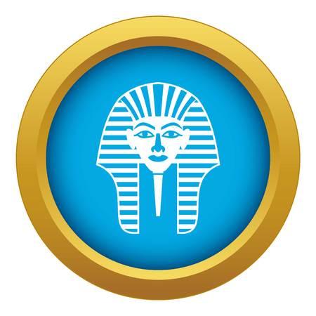 Tutankhamen mask icon blue vector isolated on white background for any design Illustration