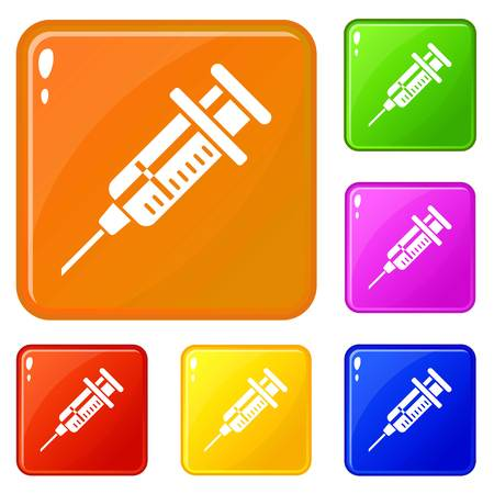 Vet syringe icons set vector color Ilustrace