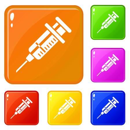 Vet syringe icons set vector color Ilustração