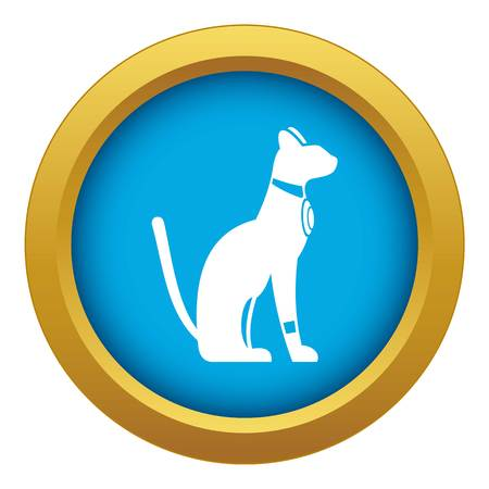 Egyptian cat icon blue vector isolated on white background for any design