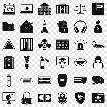 Internet crime icons set, simple style