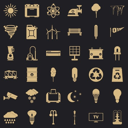 Agriculture windmill icons set, simple style
