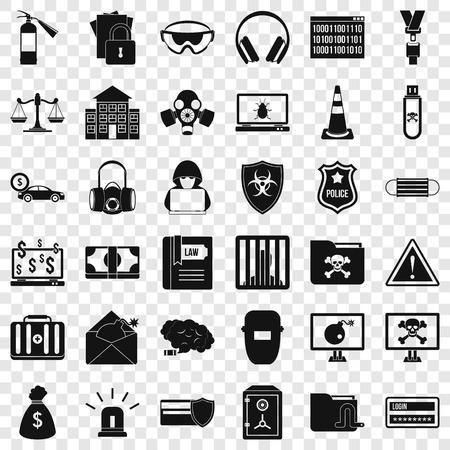 Spam virus icons set, simple style Illustration