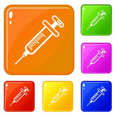 Full syringe icons set vector color Ilustrace