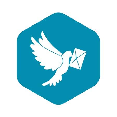 Colombe portant l'icône d'enveloppe, style simple