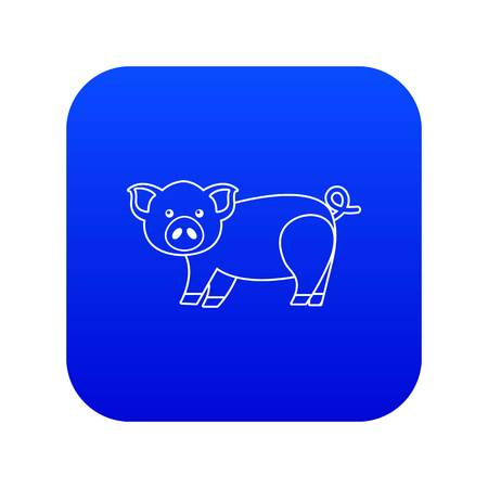 Cute pig icon blue vector isolated on white background Vector Illustration