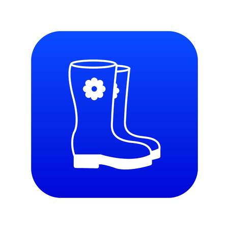 Boots icon blue vector isolated on white background