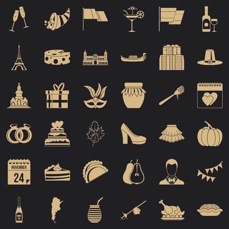 Wine celebration icons set, simple style