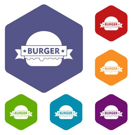Emblem burger icons vector hexahedron