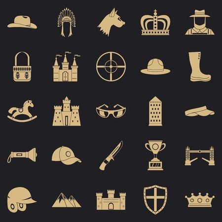 Equestrian icons set, simple style