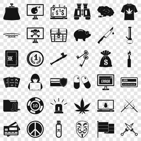 Washing money icons set, simple style