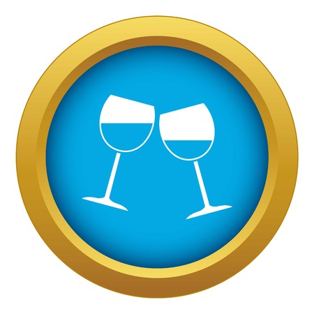 Two wine glasses icon blue vector isolated on white background for any design 일러스트