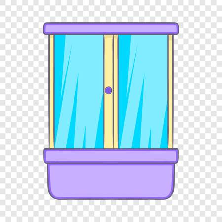Shower cubicle icon in cartoon style on a background for any web design