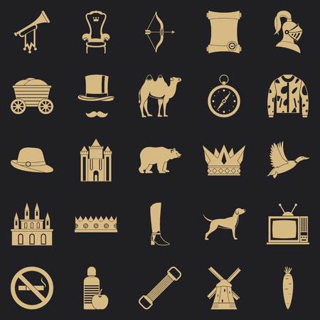 Horseman icons set, simple style