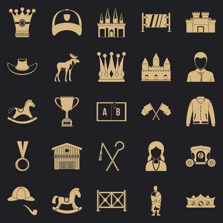 Horsemanship icons set. Simple set of 25 horsemanship vector icons for web for any design